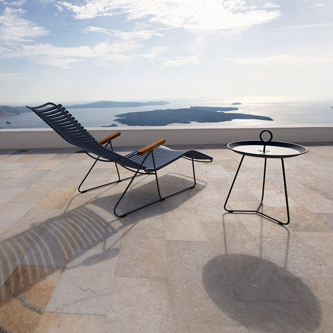 sunbathing: click sun lounger with eyelet table