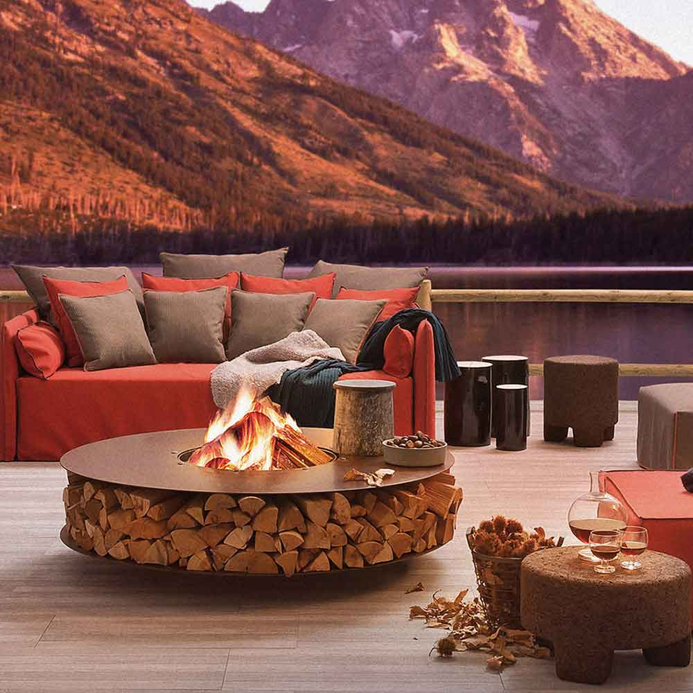 double focal point: enticing zero outdoor fire pit and magnificent mountain panorama
