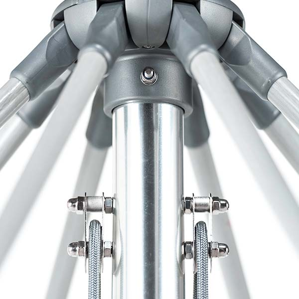 easy up and down: commercial double pulley system on every monterey giant center post market umbrella