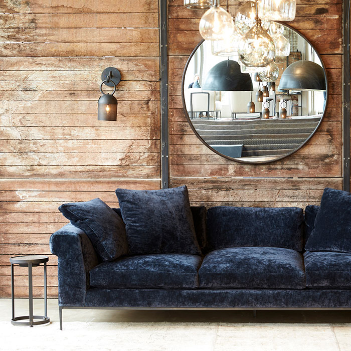 """magnificent henry sofa in velluto midnight; available in 108"""" and 96"""""""
