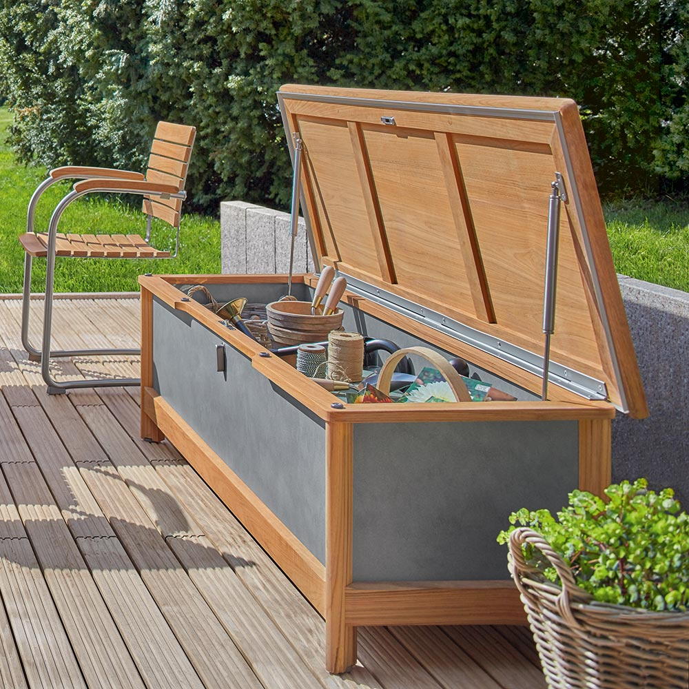 bountiful storage: the aven chest seat is wide enough to act as a bench and fits cushions and garden accessories
