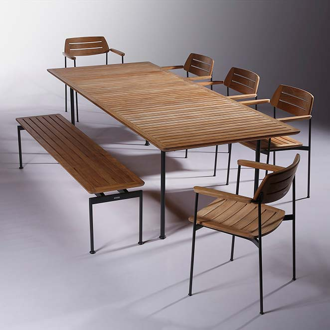 """loose set-up: layout 101"""" dining table with 74"""" backless bench and five stacking armchairs"""