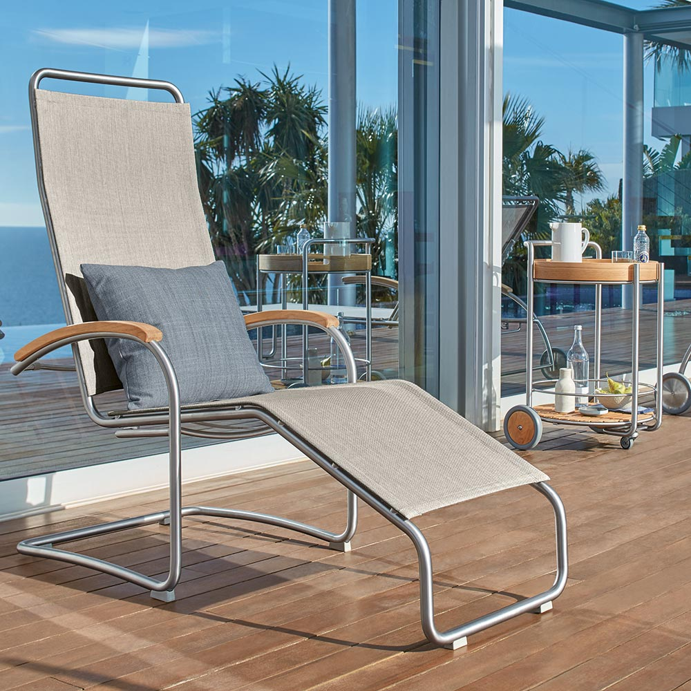 lightweight design: the airy bolero sling lounge chair reclines when you lead back, leading to a sensation like floating on air
