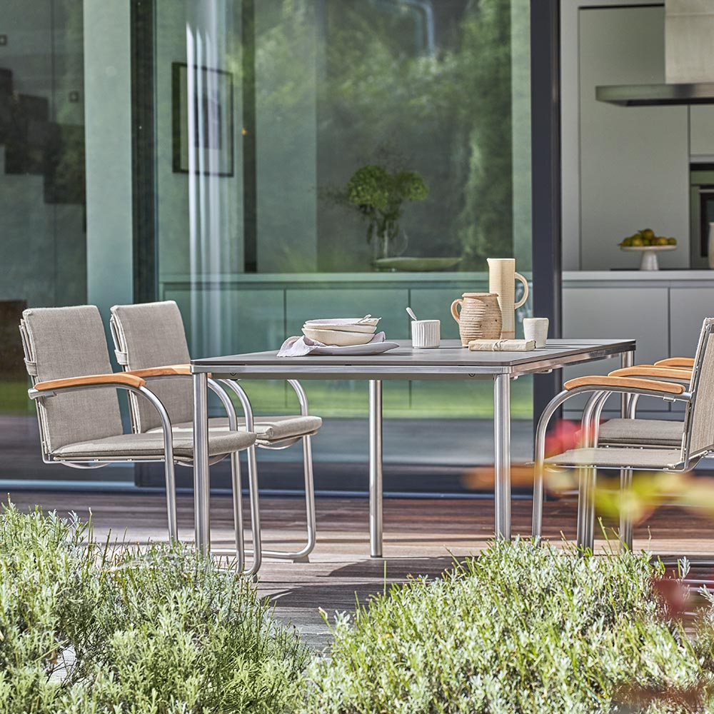 modern materials: following the bauhaus vision, the sling cantilever chair uses a modern lightweight sling material that delivers on comfort and function