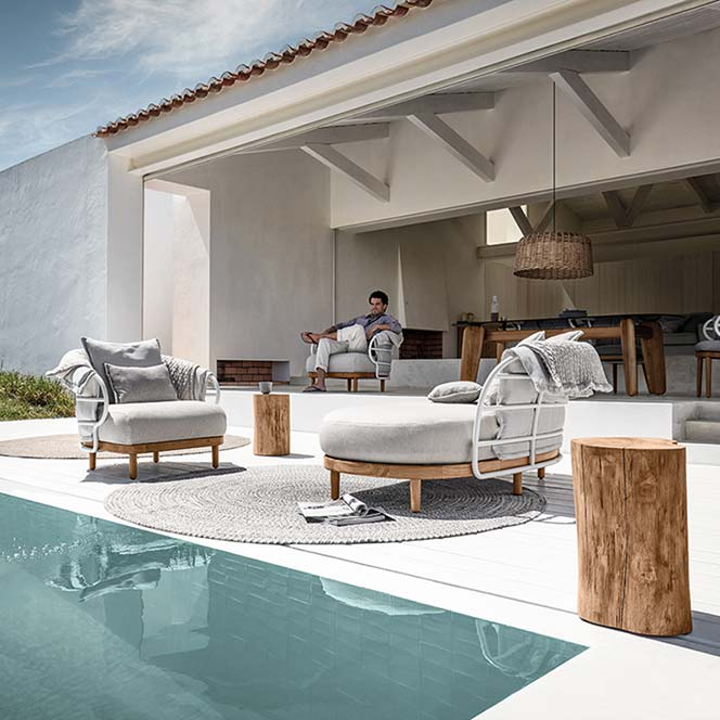your choice: sitting in the dune lounge chair or left chaise (fabric combination #2image provided courtesy of gloster furniture, inc.
