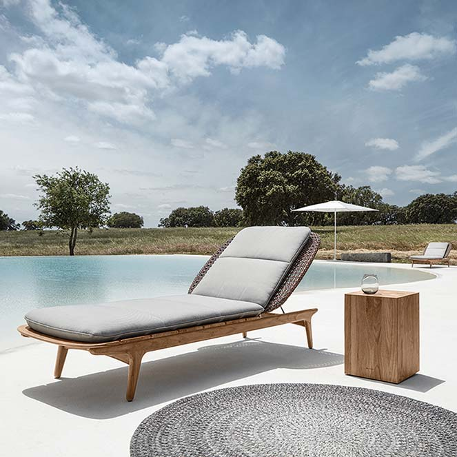 snooze by the pool: kay lounger (finish: brindle) staged with gloster's block side table image provided courtesy of gloster furniture, inc.