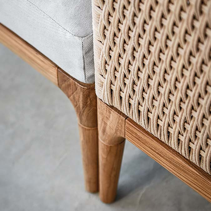 zooming in: teak and wicker workmanship of gloster's lima modular outdoor collectionimage provided courtesy of gloster furniture, inc.