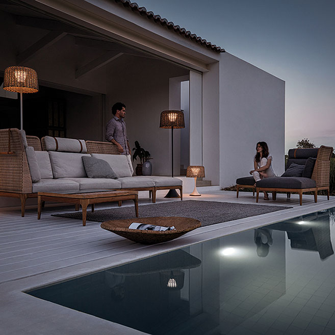 enjoy long summer evenings: gloster lima high-back modular (left): left corner/ end unit + 2 center units + ottoman | right: right corner/ end unit + 2 ottomans | ambience lighting: gloster woven lanternsimage provided courtesy of gloster furniture, inc.