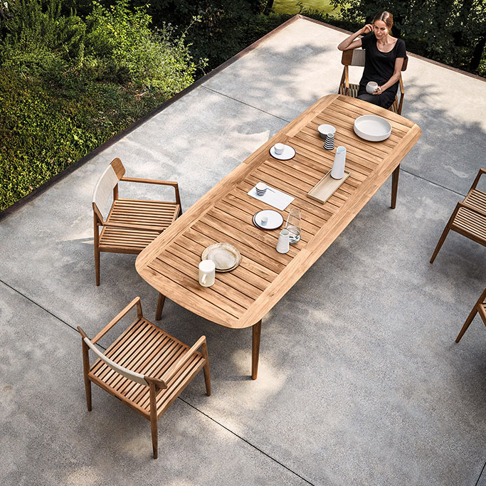 classic teak furniture: the clipper dining table brings a timeless look to your patio image provided courtesy of gloster furniture, inc.