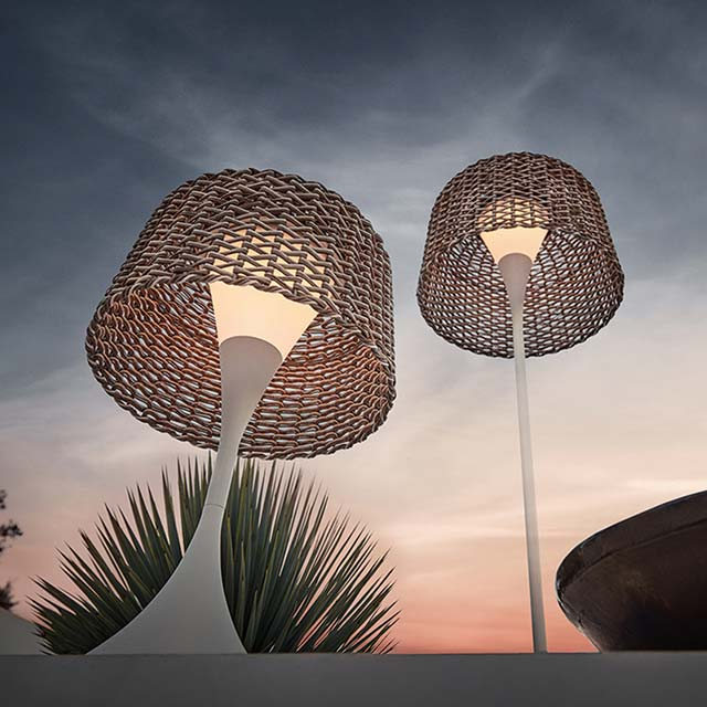accessorize your outdoor space: gloster's ambient mesh lanterns in small and tall (solar & rechargable)image provided courtesy of gloster furniture, inc.