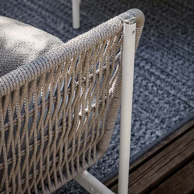 zooming in: involved weaving on rope backrest—all weather resistant (rope color almond)image provided courtesy of gloster furniture, inc.