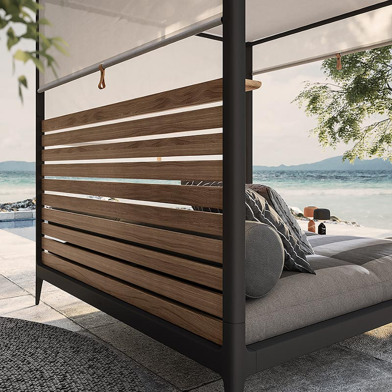 lodge cabana with teak back & sun screens image provided courtesy of gloster furniture, inc.