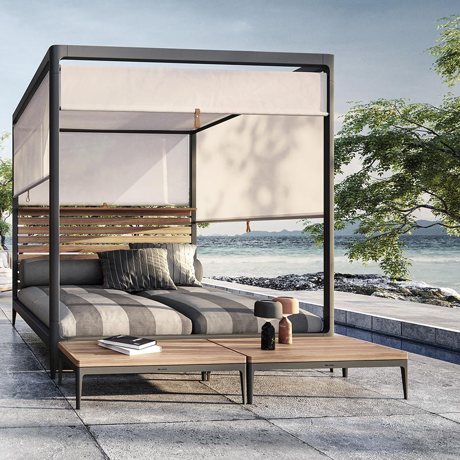 privacy and protection: screens block the sun and provide an escape from the crowd image provided courtesy of gloster furniture, inc.