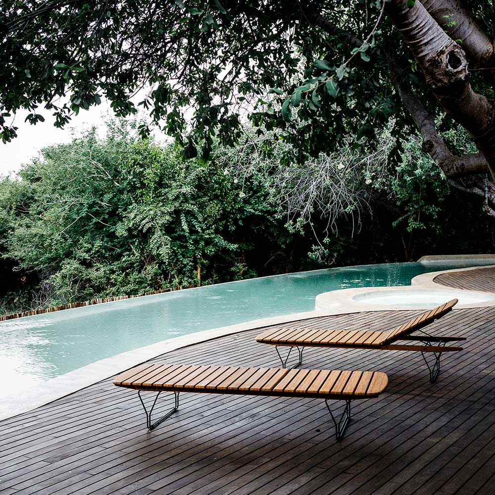 adjustable bamboo lounger: with five adjustable positions, you can use molo as a bench, lounger, or daybed