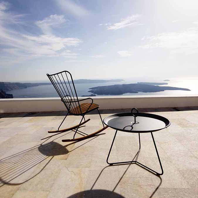 enjoy the view: paon rocking chair with houe's eyelet tray table