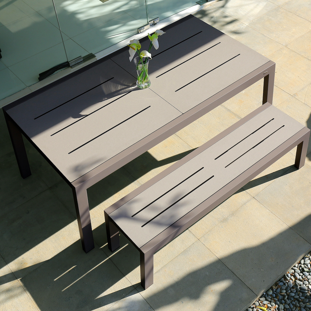 baia extension table and bench image provided courtesy of mamagreen, llc.