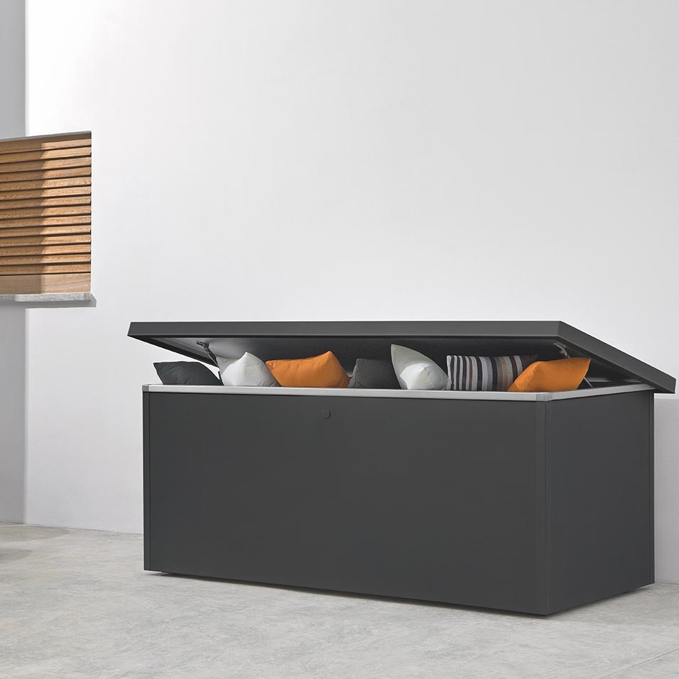 sleek storage: the fuse large powder-coated aluminum cushion box has clean-cut lines and a sophisticated appeal