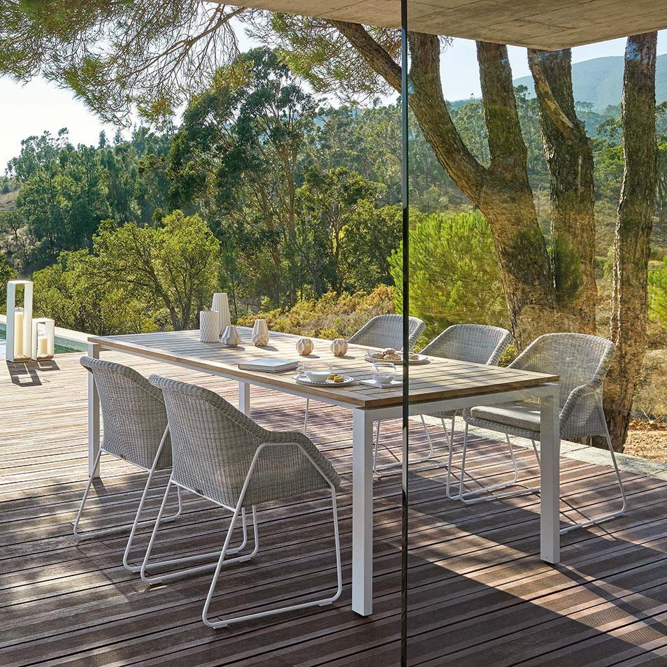 villa retreat: designed with translucence in mind, off-white mood chairs are a perfect fit for a rural escape