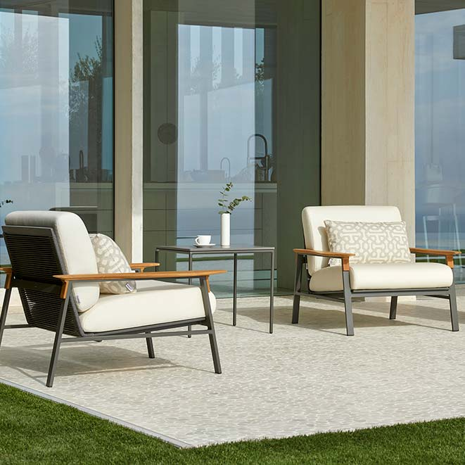 deck for two: two city lounge chairs in gunmetal grey aluminum frame and graphite rope seats and backs