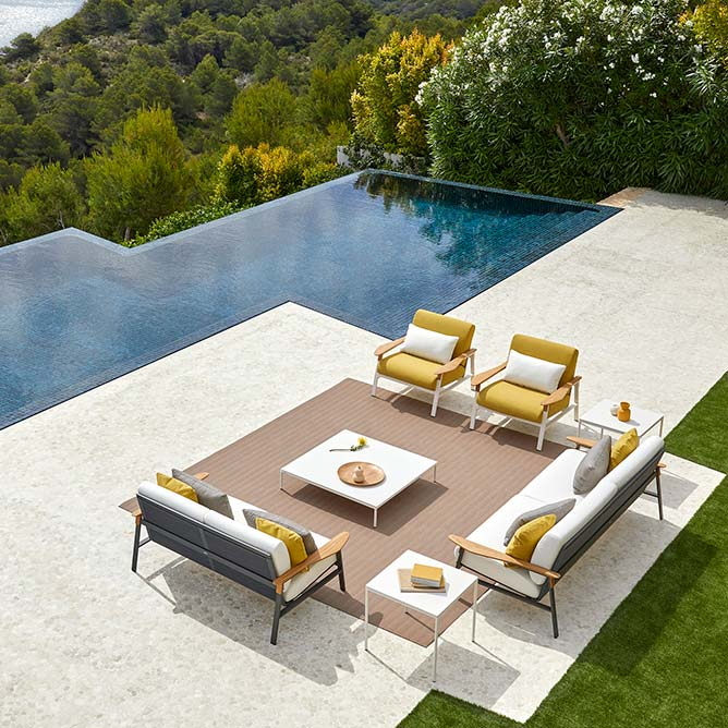 """lounge in style: city 2-/ 3-seater sofa, two lounge chairs, 39"""" square coffee table and two 22"""" square side tables"""
