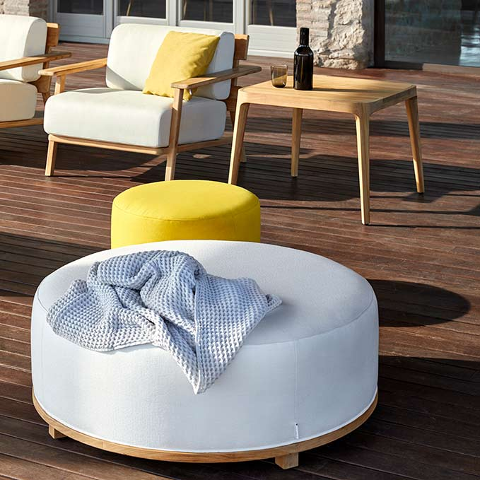 add a pouf: invite your guests to sit and lounge with fup's upholstered stools in two sizes