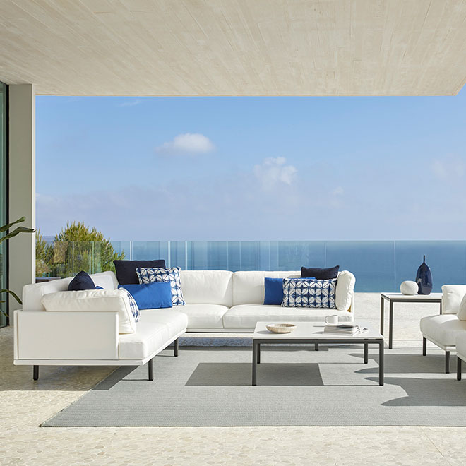 """limitless flexibility: long island modular corner sofa and two lounge chairs with 39"""" square coffee table"""