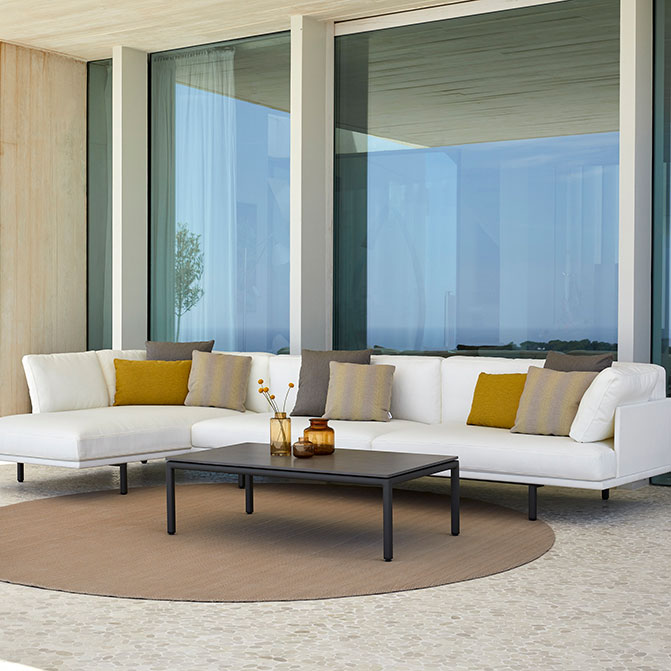 """L-shape design: modular long island sofa with 47"""" coffee table (deco cushions included in price)"""
