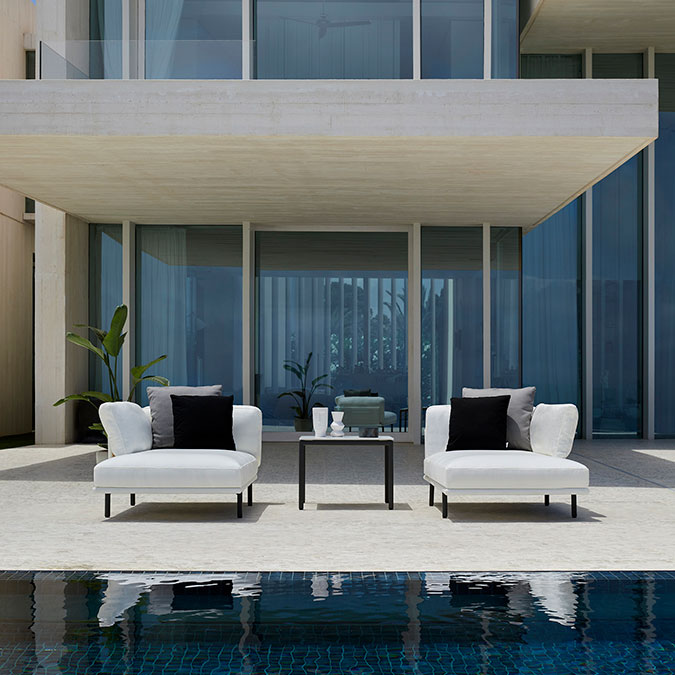 """side by side: two modular long island chaises separated by the 28"""" square side table (deco cushions included in price)"""