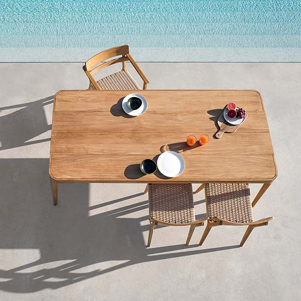 """bird's-eye view: paralel dining armchair and side chairs with 89"""" rectangular dining table (seats 8)"""
