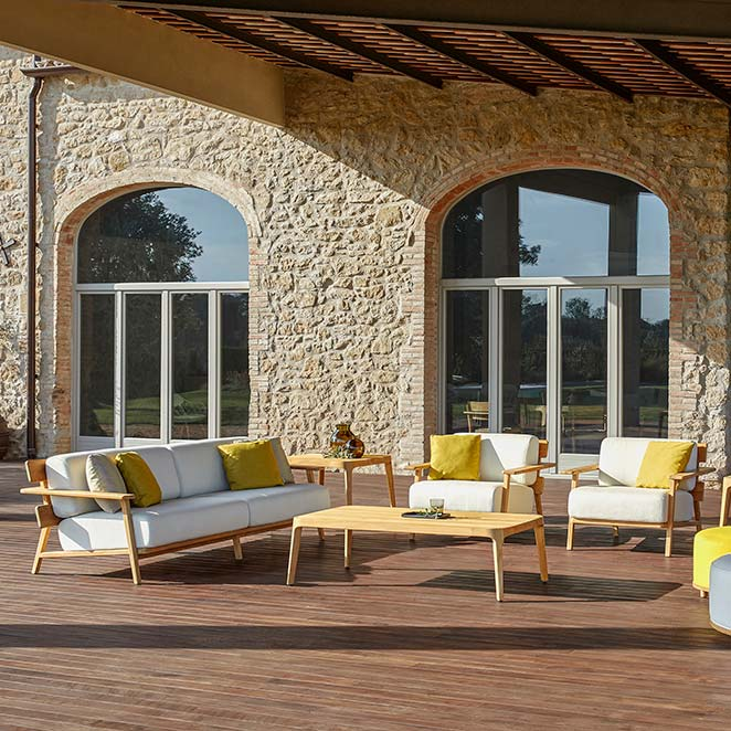 """big or small gatherings: paralel 3-seater sofa, 2 lounge chairs, two 29"""" square side tables, 56"""" coffee table staged with two fup ottomans also by point (optional: deco cushions)"""