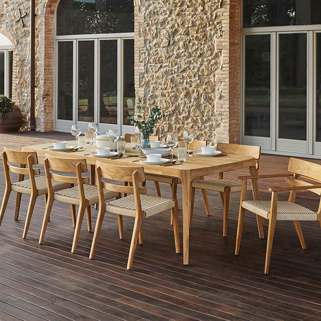 """for semi-large gatherings: paralel's 89"""" dining table with arm- and side chairs"""