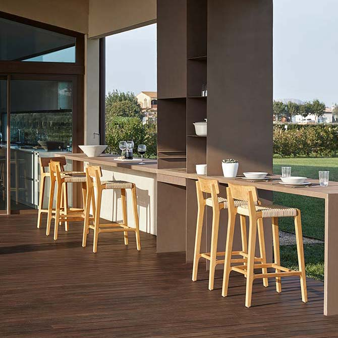 enjoy the view: parallel bar stools with teak frame and rope seat