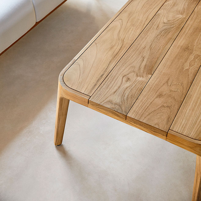 workmanship detail: inlays and rounded edges on paralel's beautiful natural teak coffee and side tables