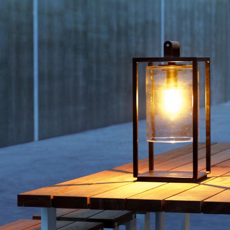 table lamp or for smaller outdoor settings: dome small with powder-coated aluminum frame (black) and glass shade