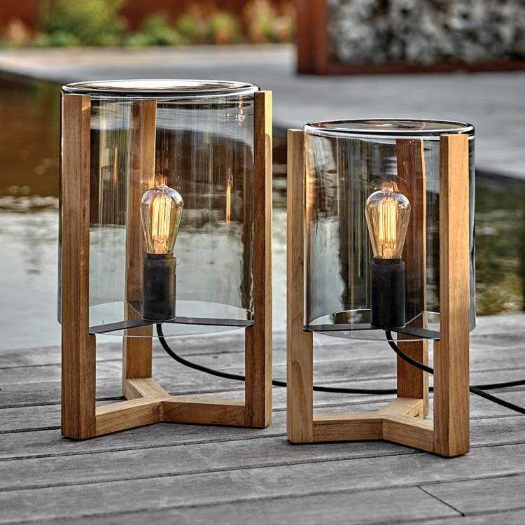 great companions: tristar 50 (left) and tristar 45 (right) with teak frame and handmade smoke glass shade