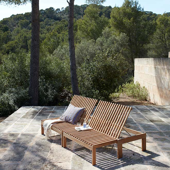 multifunctional: skagerak's riviera lounge works as a bench, seat with side table, sun or even daybed