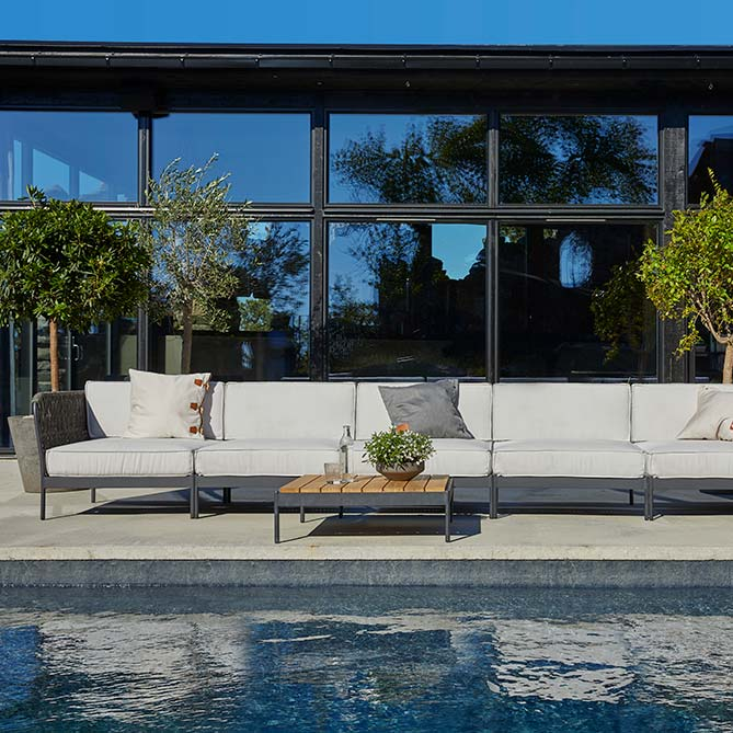"stay comfortable at the pool: lido sofa corner + 4 sofa mid sections + sofa corner (back) | 32"" square lounge table (front)"