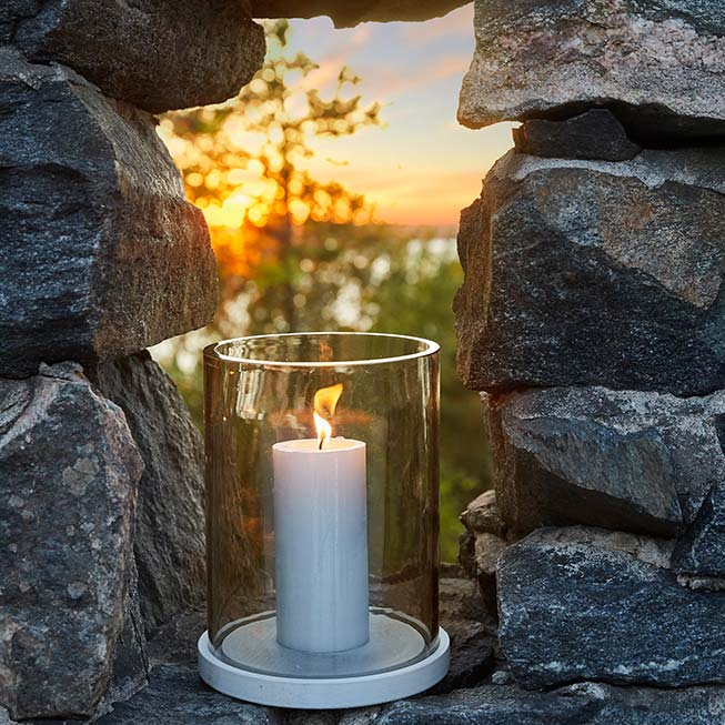 filling any niche: moja candle lantern with grey glass