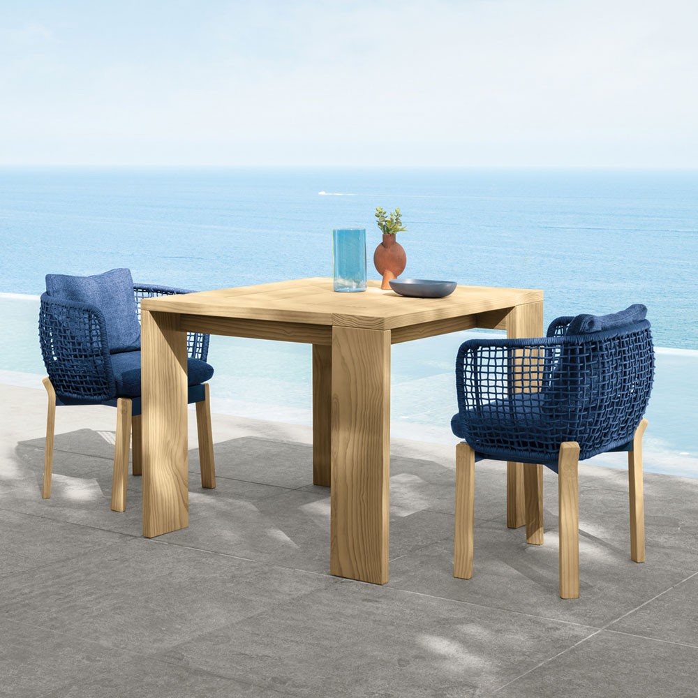 "playful geometric lines: alternating table legs on the argo 37"" square dining table"