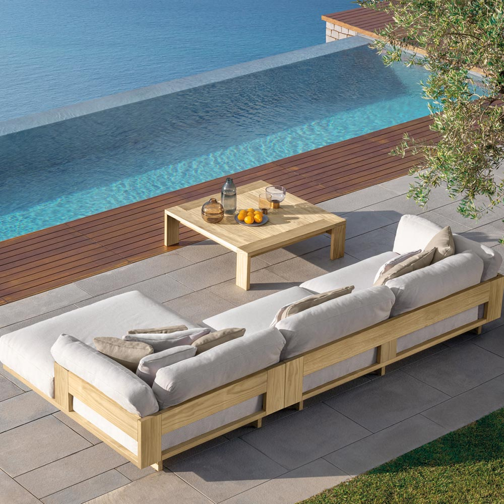 outdoor sectional: the argo sofal xl and argo sofa combined to form a luxurious sectional