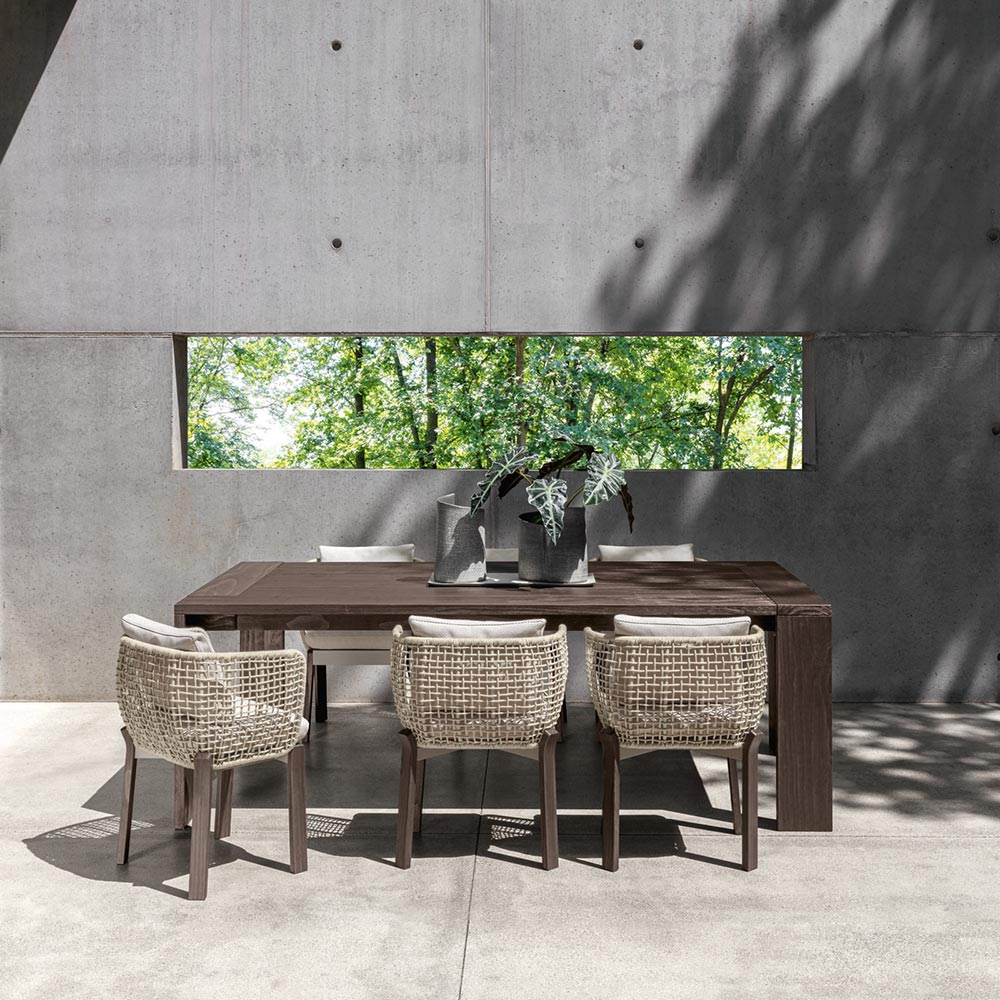 "refined outdoor dining: the argo 87"" dining table seats up to 8 people"