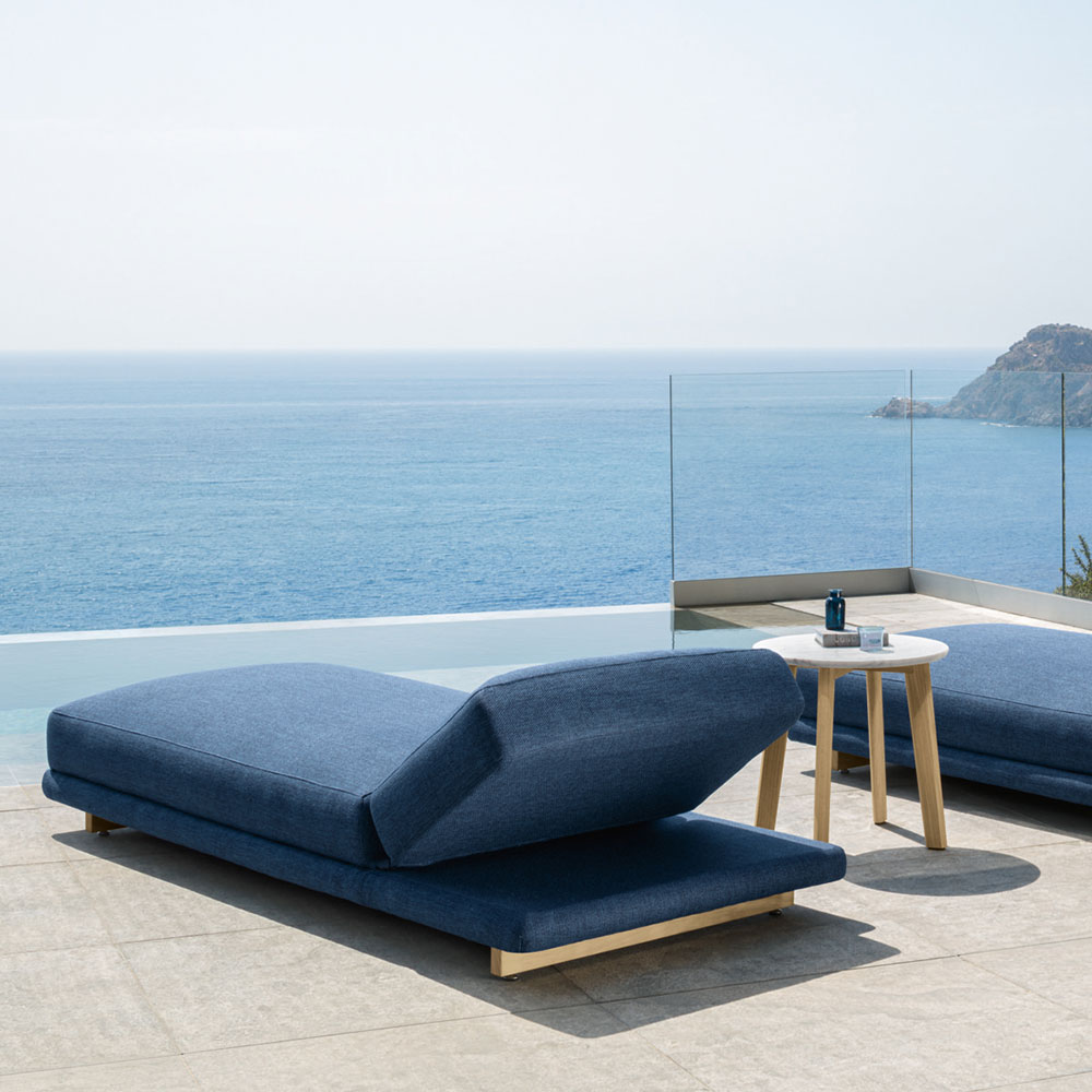 floating on a cloud: the argo sunbed has voluminous cushions with a dense texture that will feel like you are floating in air