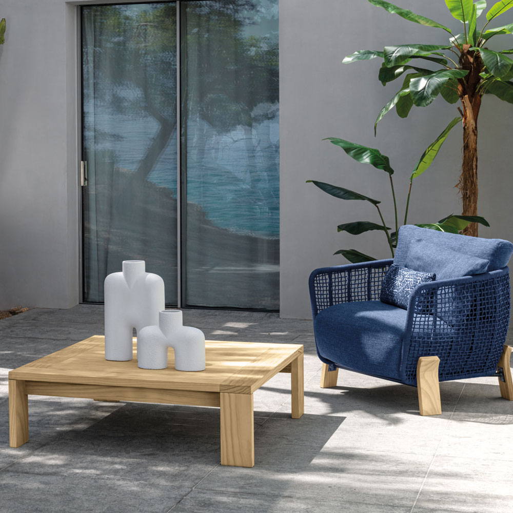 """natural accoya wood: the argo 42"""" square coffee table is crafted with natural accoya wood to form rigid geometrical lines"""