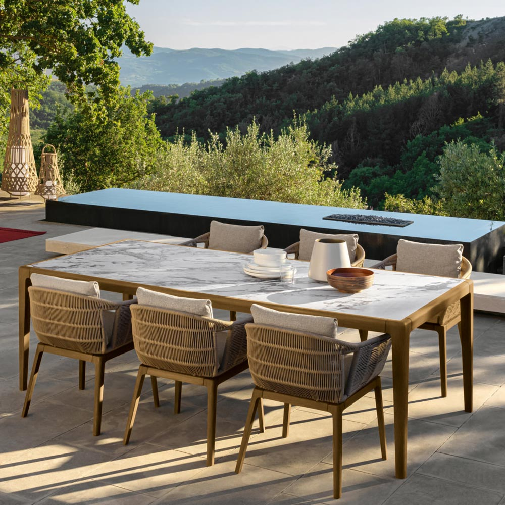 outdoor dinner party: the large cruise dining table seats up to 8 people