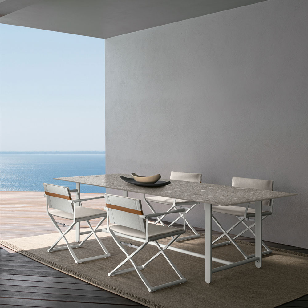 timeless lines: synonymous with grand seaside resorts, the riviera dining collection is right at home in a nautical setting