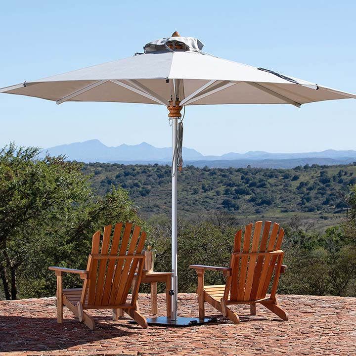 made for longevity: bravura 11.5' round center pole umbrella with anodized aluminum pole/ ribs and stainless steel double pulley system