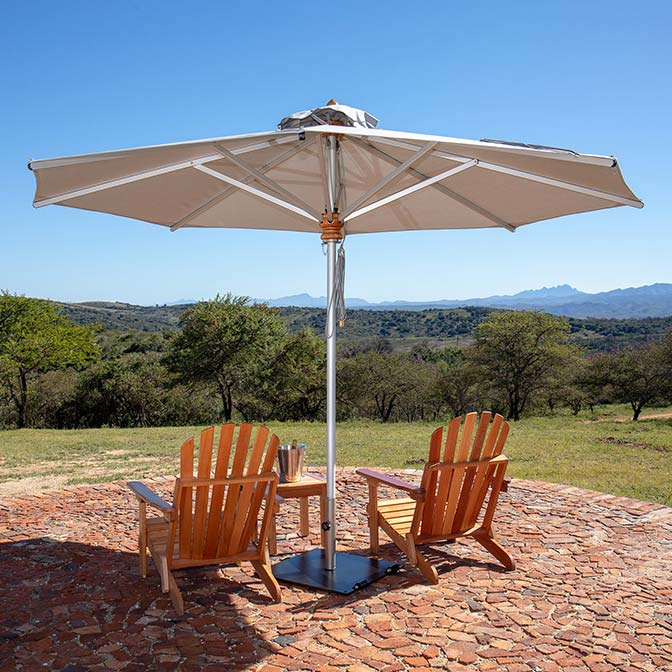 aesthetic shade solution: bravura 11.5' round center pole umbrella with canopy color natural