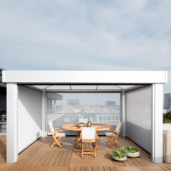 protected privacy: square one cabana with three blinds drawn