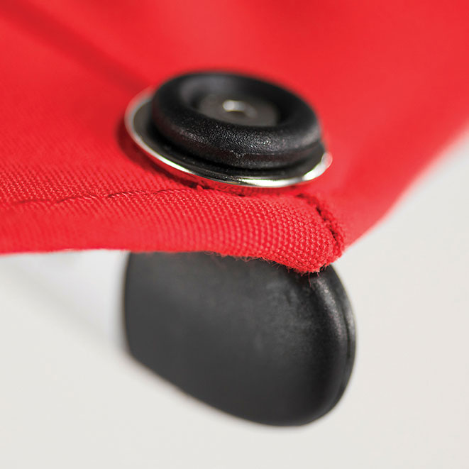 spread tension: monterey's grommet and pin system reduces chance of fabric tears