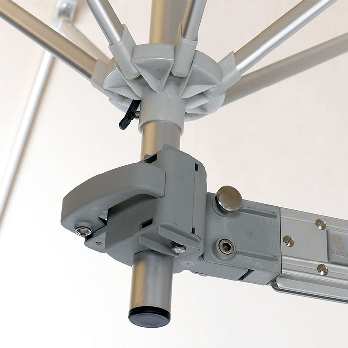 detail: solid attachment of flexible arm to european wall mount pole